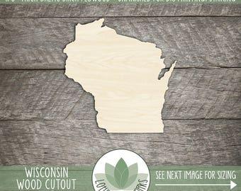 Wisconsin State Wood Cut Shape, DIY Laser Cut Wisconsin, Wood Wisconsin
