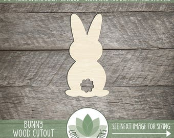 Easter Bunny Wood Cutout, Wooden Bunny Laser Cut Shape, DIY Easter Craft Supplies, Easter Decor, Wreath Making Shapes