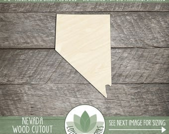 Nevada State Wood Cut Shape Shape, Unfinished Wood Nevada Laser Cut Shape, DIY Craft Supply, Many Size Options