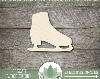 Ice Skate Wood Shape, Laser Cut Wooden Ice Skate Cutout, Unfinshed Wood For DIY Projects, Many Size Options, Ice Skate Room Decor