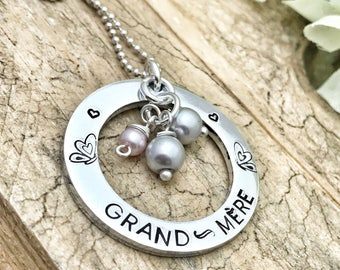 Hand Stamped French Grand-Mère Necklace, Cadeau Grand-Mère, Bijoux Grand-Mère