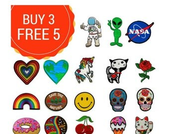 Value Pack Patches Bulk Mix by Yourself  sewing Iron on NASA Cute Cat Red Rose Flower Patches  Embroidered Iron On Applique Sew DIY Clothing