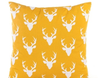 SALE ENDS SOON Mustard Yellow Deer Pillowcase, Yellow and White Throw Pillow Cover, Woodland Pillow, Buck, Nursery Pillows, Soft Cotton Pill