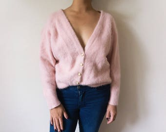 Super soft angora and lambswool fluffy pink sweater cardigan