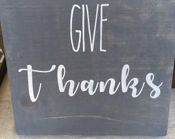Wooden Sign, Give Thanks, Custom Sign, Hand Painted Sign