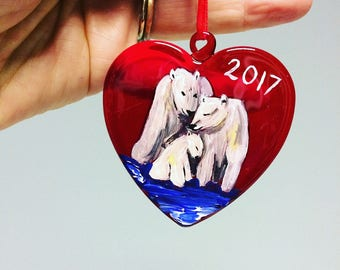 Babys first christmas bauble, heart decoration, polar bears bauble, glass tree decoration, 2017