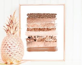 Rose Gold Wall Decor Alluring Rose Gold Wall Art  Etsy Design Decoration