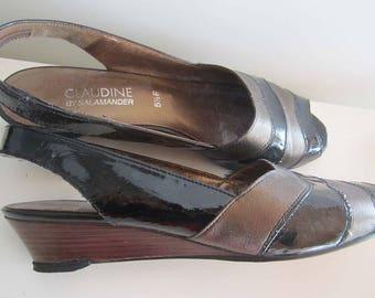 Vintage 80s wedge heel Sandals shoes peep-toes 38