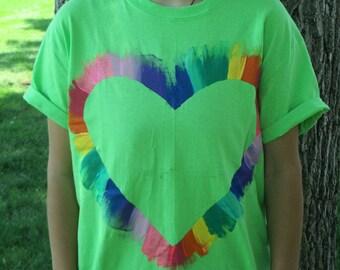 Rainbow heart tee shirt hand painted