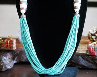 ETHNIC necklace ethnic necklace TURQUOISE necklace SHELL Beads necklace turquoise gift for her gift for her Christmas gift christmas gift