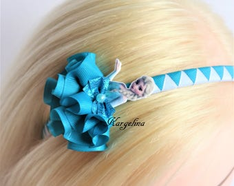 Princess Elsa Hair Clip Handmade Hair Band Crown Disney Princess Elsa Party Favor Frozen hair clip Elsa Ribbon Hairclip Frosen Elsa