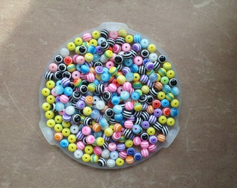 50 beads shape round stripe Zebra mix color 8mm