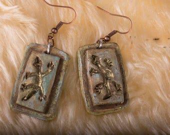 Polymer clay gecko earrings