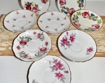 "Floral saucers,mismatched,set of 8,flower pattern china saucers,Royal Kent,Staffordshire,England,Royal Albert,Royal Dover,Bone china,5.5"""