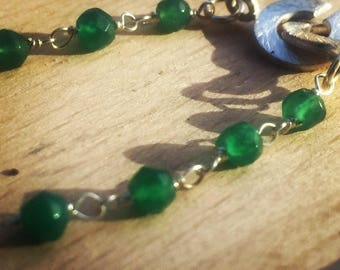 Necklace 925 Silver and green agate