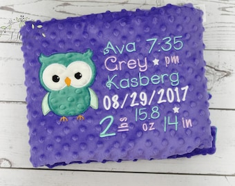 Personalized baby blanket Owl-Birth Stat blanket Owl-Personalized Minky baby blanket-Owl Minky Blanket-Monogrammed Blanket boy girl blanket