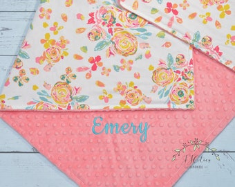 Personalized minky baby Girl blanket-Personalized Baby blanket-Minky Watercolor Flora minky blanket-Coral Mint nursery-Baby girl blanket