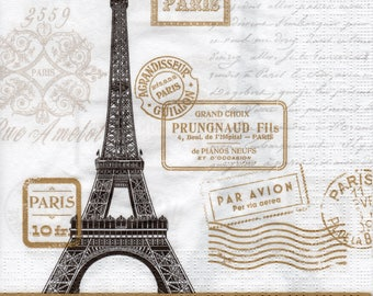 Paper Napkins for Decoupage Paris Rendezvous White (2x Napkins) ideal for Decoupage, Scrapbooking, Collage, Mixed Media, Crafts
