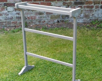 Towel rail stand vintage refinished hand painted French linen taupe grey white country farmhouse rustic