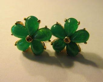 "Chinese Green Jade Flower Earring, 5/8"""