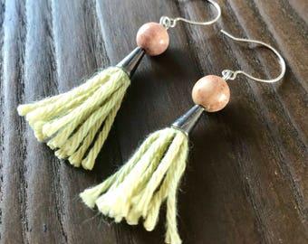 Pink Jasper Tassel Earrings