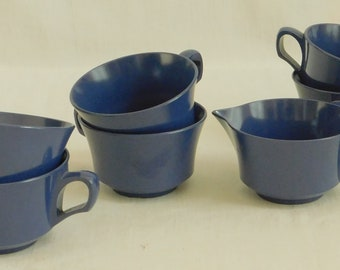 7 Vintage Blue Melamine, Cups, Creamer, Melmac, Plastic Picnic Dish Set, Odds Ends, Camping Dinnerware, Mid Century, Variety