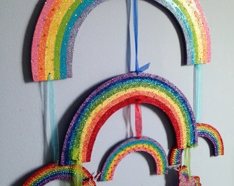 Rainbow U0026 Unicorn Mobile, Rainbow Room Decor, Rainbow Baby, Baby Shower  Gift Idea