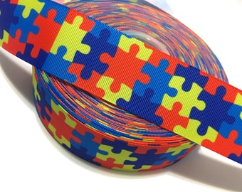 "1.5"" Autism Ribbon, Autism Grosgrain Ribbon, Autism Awareness Ribbon, Autism Puzzle Ribbon, Autism Support Ribbon, Autism Craft Supply"