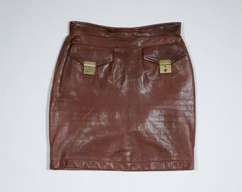 MOSCHINO - Leather skirt