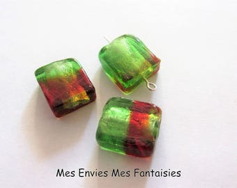 3 rectangle Lampwork beads 16 x 14mm thickness 6mm Green / red hole + /-1 mm