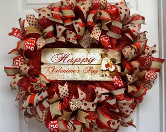 Valentine Wreath, Valentine Mesh Wreath, Valentine's Wreath, Love Wreath, Valentine's Door Hanger,Victorian Valentine, Valentine's Mesh