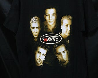 FREE SHIPPING Nsync 90s Tee Shirt Stedman Hanes Adult Size M Tour Concert Promo Album Vintage