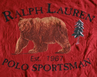 Polo Ralph Lauren Sportsman Bear grizzly Size XLarge Logo RL outdoor crewneck Jersey Red