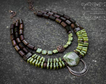 olive and braun beaded necklace with natural jade and Bullseye  stone,  etno style Ukrainian jewelry, handmade, gift for her