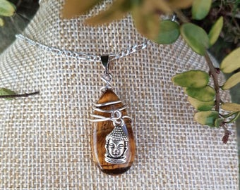 Buddha Tigers Eye , natural gemstone ,pendant, necklace, confidence, willpower,good fortune
