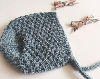 Baby Bonnet Knitted/ Blue Bonnet/ Vintage Baby Hat/ Wool Baby Bonnet/ Newborn Bonnet/ Wool Hat/ Newborn Photo Prop/ Gender Neutral Hat