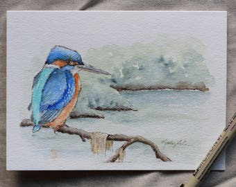 Kingfisher on the pond (The life of a fisherman) watercolor card-original or prints