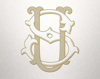 Vintage Digital Monogram - SU US - Digital Monogram - Custom