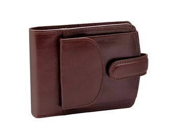 Mens genuine leather brown wallet with side coin pocket