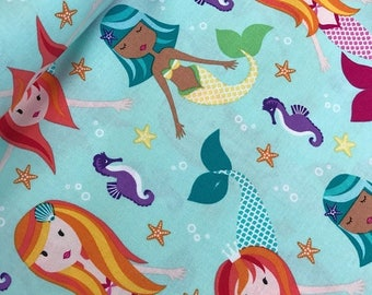 Sale Fairy Tales in Aqua from the Mer-Mates Collection from Michael Miller Fabrics, Mermaid, Seahorse