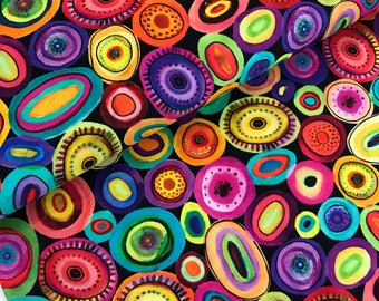 Multi Circle Shapes Digitally Printed Cotton Fabric from the Printemps Collection by Sylvie Demers for P & B Textiles, Colorful, Modern