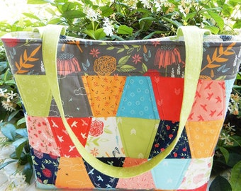 The Aubri Tote Bag Pattern by Sherri McConnell for The Quilting Life Designs, Charm Pack Friendly Pattern
