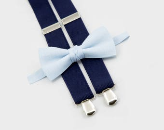 light blue bow tie & navy blue suspenders, ring bearer gift, wedding accesories