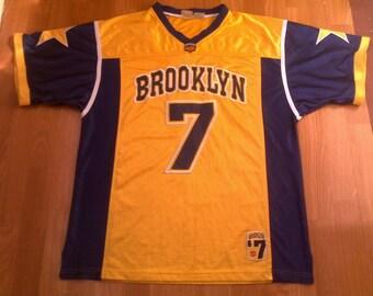 Brooklyn jersey, vintage New York t-shirt basketball shirt of 90s hip-hop clothing, yellow sewn 1990s hip hop, gangsta rap Fubu size XXL 2XL