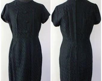 Summer Start Sale Vintage 60s Eyelet Lace Little Black Dress - Wiggle Dress - Size Medium, Large