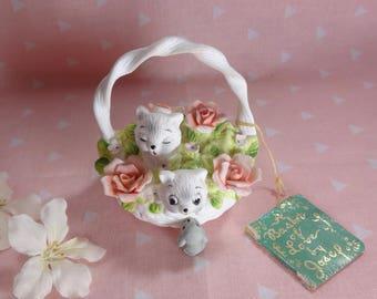 Vintage Cats in Basket Bone China