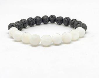 June Birthstone Bracelet, Pearl Bracelet, Moonstone Bracelet, Gifts for Mom, Birthstone Jewelry, Diffuser Bracelet, Lava Rock Bracelet