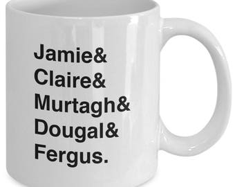 OUTLANDER SERIES Character Names Mug - TV Show Fan Fandom Gift - Jamie and Claire Fraser - 11 oz white coffee tea cup