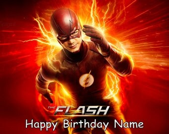 """The Flash Edible Image Cake Topper Personalized Birthday 1/4 Sheet or 8"""" Round"""