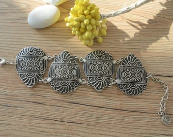 Bohemian Aztec Style Oval Shaped Silver Link bracelet, Silver Chain bracelet, Bohemian Ethnic Tribal bracelets, Silver Turkish Bracelet